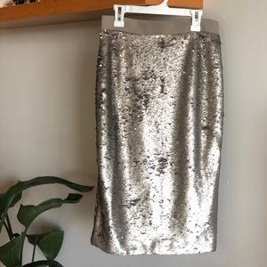 Sequin opaque silver pencil skirt size 2